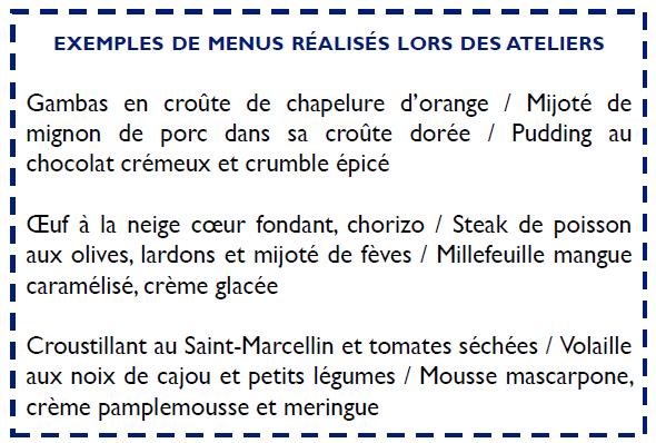 Exemple de menu à Nice