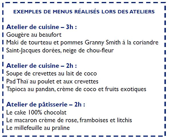 Exemple de menu à Paris