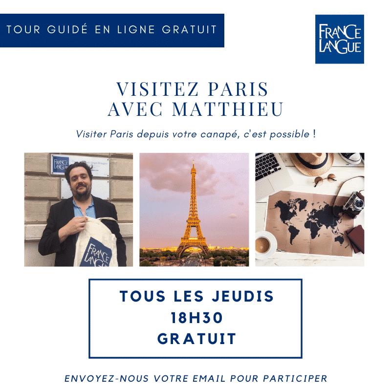 Affiche visite virtuelle et guidée de Paris, FL OnLine