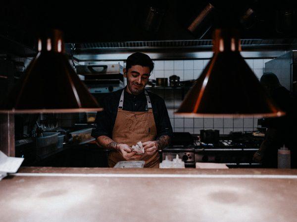 man preparing food