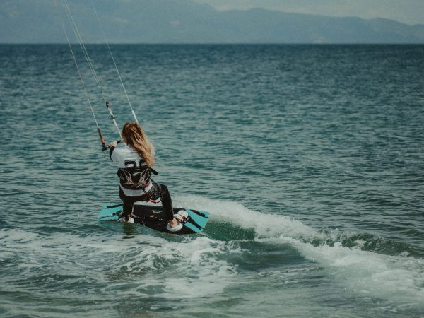 woman riding on wakeboard